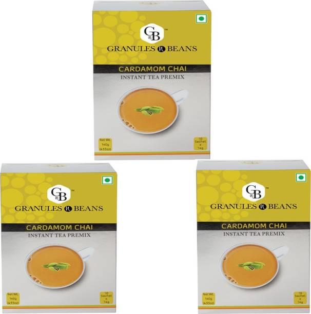 Granules and Beans Cardamom Tea Instant Premix (Pack of 3)   100% Natural Elaichi Chai Instant Premix   10 Sachets of 14gms Each Chai for Immunity & Freshness Cardamom Instant Tea Box
