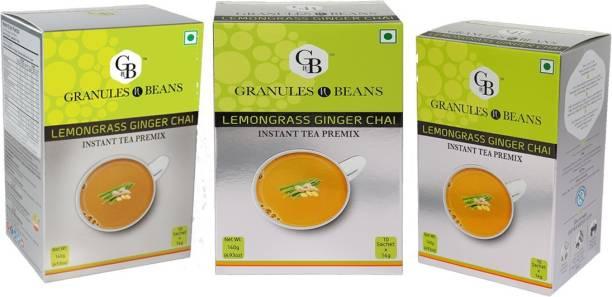 Granules and Beans Lemongrass Ginger Tea Instant Premix (Pack of 3)   Lemongrass Adrak Chai Instant Pemix   10 Sachets of 14gms Each Instant Chai for Immunity & Freshness Lemon Grass, Ginger Instant Tea Box