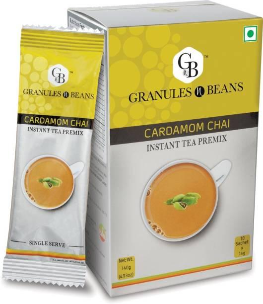 Granules and Beans Cardamom Tea Instant Premix (Pack of 2)   100% Natural Elaichi Chai Instant Premix   10 Sachets of 14gms Each Chai for Immunity & Freshness Cardamom Instant Tea Box