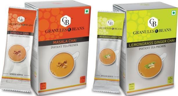 Granules and Beans Combo Pack of Lemongrass-Ginger Tea & Masala Tea Instant Premix   20 Sachets of 14gms Each Instant Chai for Immunity & Freshness Lemon Grass, Spices Instant Tea Box
