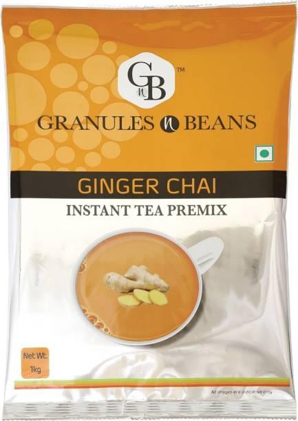 Granules and Beans Ginger Tea Instant Premix (Adrak Chai) - 1 Kg Pack of Ginger Instant Chai for Immunity & Freshness Ginger Instant Tea Pouch