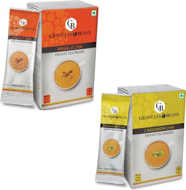 Granules and Beans Combo Pack of Cardamom Tea & Masala Tea Instant Premix - Elaichi & Masala Chai   20 sachets of 14gms Each Instant chai for Immunity & Freshness Cardamom, Spices Instant Tea Box