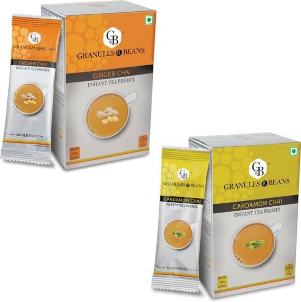 Granules and Beans Combo Pack of Cardamom Tea & Ginger Tea Instant Premix   Adrak Elaichi Chai Premix   20 Sachets of 14gms Each Chai for immunity & Freshness Ginger, Cardamom Instant Tea Box