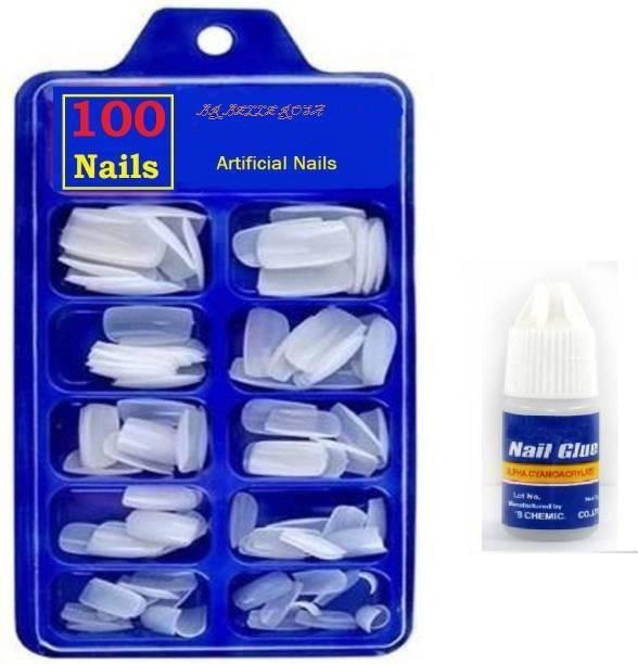 BR Belle Rosa Fake Nails/False Nails/Artificial Nails/Acrylic Natural Nails/Fake nail/False Nail With Nails Glue WHITE