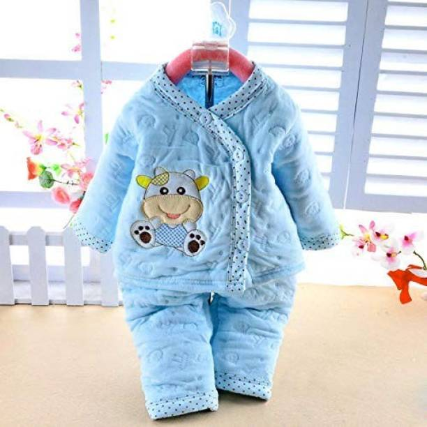 PIKIPOO Presents New Born Baby Cotton Cartoon Print 2 Piece Suit Keep Baby Warm Cotton Baby Boys Girls Unisex Baby Fleece/Falalen or Flannel Suit Infant Clothes (Blue, 0-3 Months)