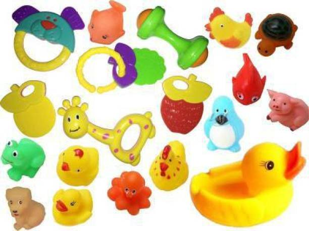 Happy Baby 20 Pcs Set of Rattles and Animal Shape Toys Rattle Various Exciting Toys for New Born & Infants Rattle Rattle