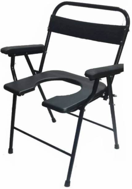 DARLIE Folding Anti-Skid Elderly Disabled Men and Pregnant Women Stainless Steel Shower and Bathing Room Mobile Commode Chair with Toilet Seat Comfortable Safe chair( BLACK ) Commode Shower Chair