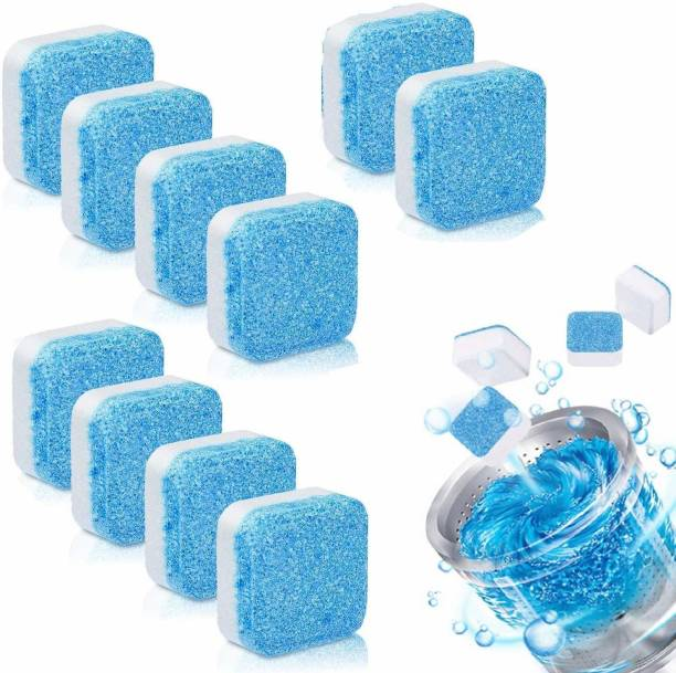 AMANZA Washing Machine Deep Cleaner Effervescent Tablet for All Company's Front and Top Load Machine, Descaling Powder Tablet for Perfectly Cleaning of Tub & Drum Stain Remover Washer (10) Dishwash Bar