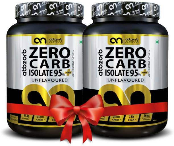 Abbzorb Nutrition Zero Carb Isolate 95%+ 31.3g Protein   BCAA 7.5g with Digestive Enzymes 1kg(Pack of 2) Combo