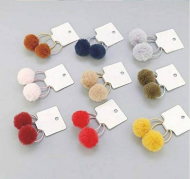 Local Charm Multi colour Fur Rubber Ponytail Holder Hair Band for Women Pack 18 Rubber Band
