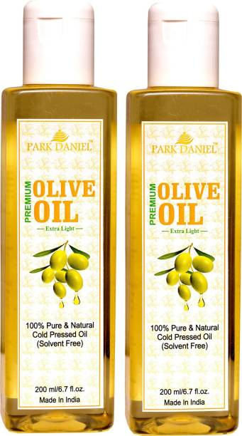 PARK DANIEL Extra Light Olive Oil-100 % Pure and Natural Combo of 2 bottles of 200 ml(400 ml) Hair Oil