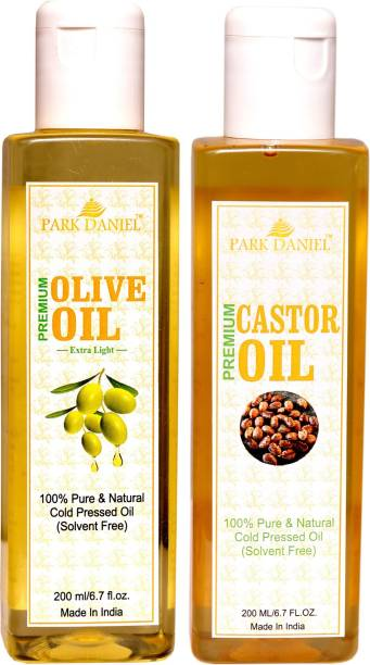 PARK DANIEL Extra Light Olive Oil and Cold pressed Castor oil-100 % Pure and Natural Combo of 2 bottles of 200 ml(400 ml) Hair Oil