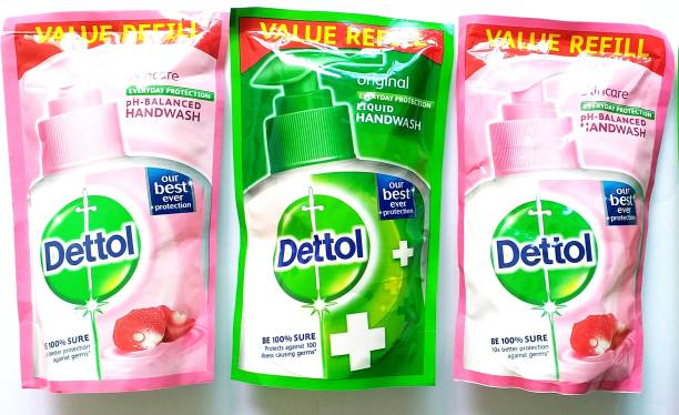 Dettol ACME ORIGINAL LIQUID HANDWASH 175 ML EACH VALUE REFILL BE 100 % SURE PROTECTS AGAINST 100 ILLNESS CAUSING GERMS Hand Wash Refill Pouch