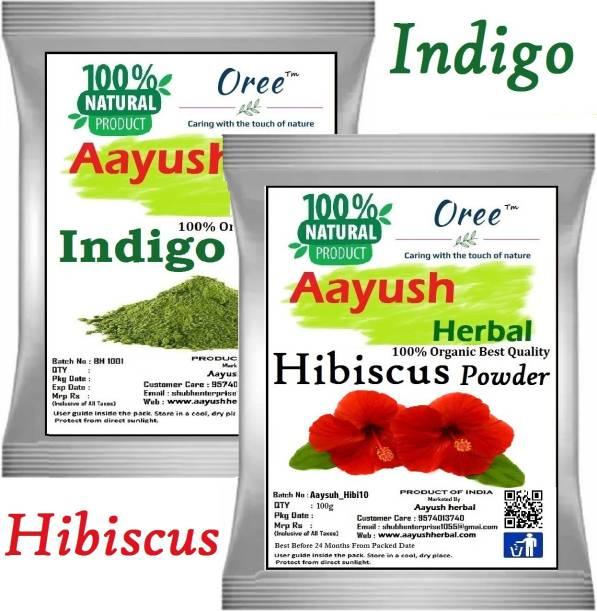 Aayush herbal Indigo powder+HIBISCUS powder PREMIUM QUALITY 100% Natural Hair Color/Hair Growth (100g Each)