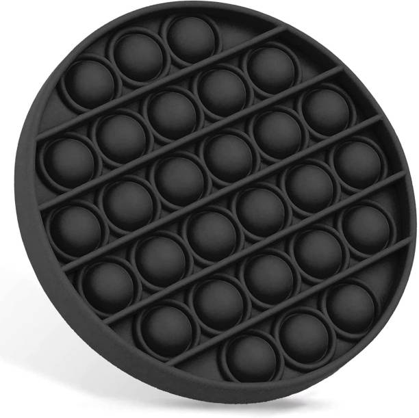 Zmeet Fidget Toys Push Bubble Sensory pop pop Silicone Stress Reliever Toy,Stress Reliever Squeeze Sensory Toy for Home, School & Office(Round Black)