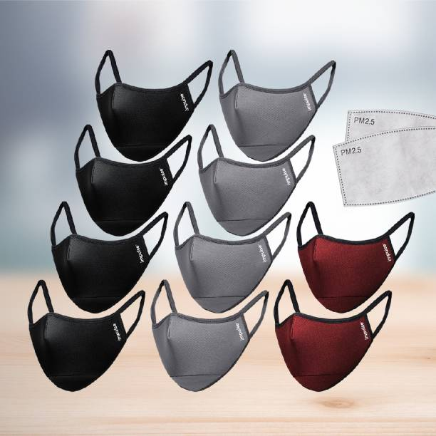 IMPULSE I95 Airmask Premium Cotton Cloth Face Mask Multi colored 6 layer Replaceable Activated Carbon Filter Reusable Washable Outdoor Masks Pack of 10 with 12 add on filters Mask Cloth Mask