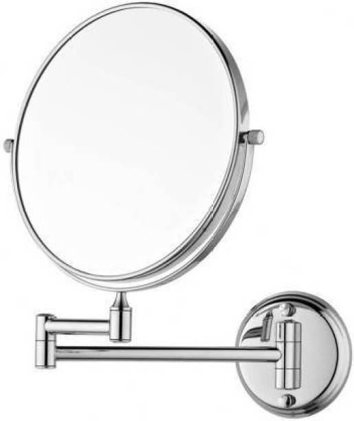 """PESCA Magnifying Mirror 8"""" PURE BRASS Makeup Mirror/ Shaving Mirror/ Bathroom Mirror with 5X Magnifying Mirror & Wall Bracket With Adjustable Frame Magnifying Mirror"""
