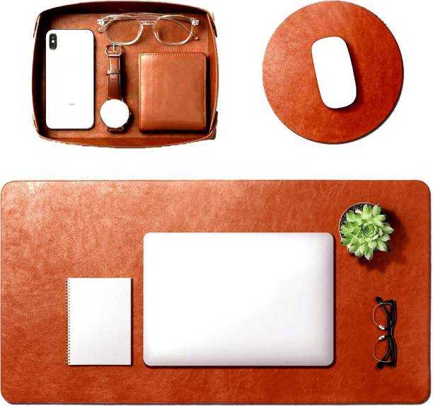 UK Leather Creation Turf Desk Computer Laptop Mat Vegan Tray Orb Mouse Pad Desk Mat with Vegan Leather Tray (Tan)- for Work from Home/Office   Anti-Skid, Anti-Slip, Splash-Proof Limited Edition Mousepad