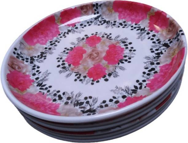 Mishra company Half Dinner plate 8 inch pink black printed plate Half Plate
