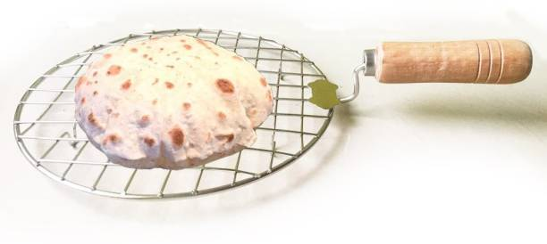ABlue Clipper Stainless Steel Round Papad Jali, Roti Jail, Barbeque Jali, Chapati Roast Grill, Shekni, Tandoor Net, Roasting Net, Wire Roaster,Grill With Handle For Padpd Roti, Chapati, Paneer Tandoor Bharta, Chiken Grill 5 kg Roaster