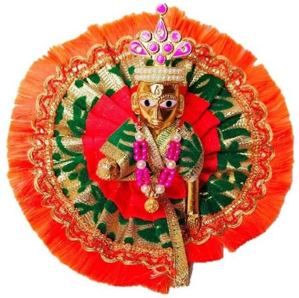 LOTUS RISE Size no.3 Pittal Laddu Gopal Statue Pital Brass Murti Kanha ji with pushak mukut Laddu Gopal Thakur Ji Metal ,Metal Laddu Gopal Baby Krishna Bal Gopal Thakurji Decorative Decorative Showpiece Decorative Showpiece  -  9 cm