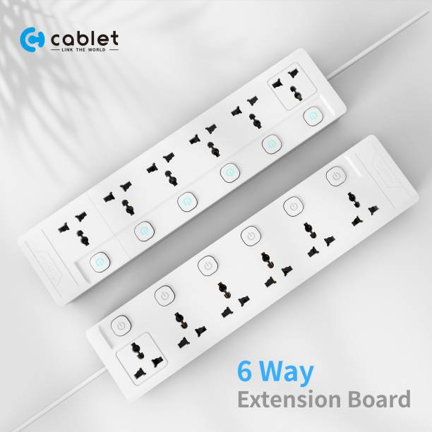 Cablet 6060-18 - 6 Universal Socket, 6 Switch and 1.8m Heavy Duty Cable 6  Socket Extension Boards