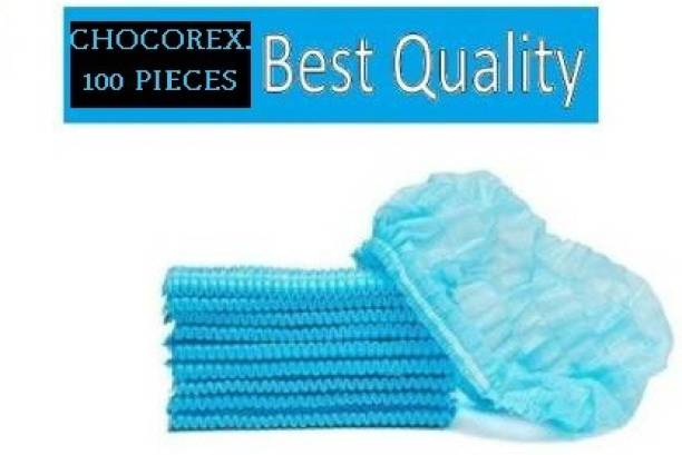 CHOCOREX. Disposable Stretchable Blue Caps, Cover Hair For Cooking & Hygiene Surgical Head Cap (Disposable) PACK OF 100 Surgical Head Cap (Disposable) Surgical Head Cap