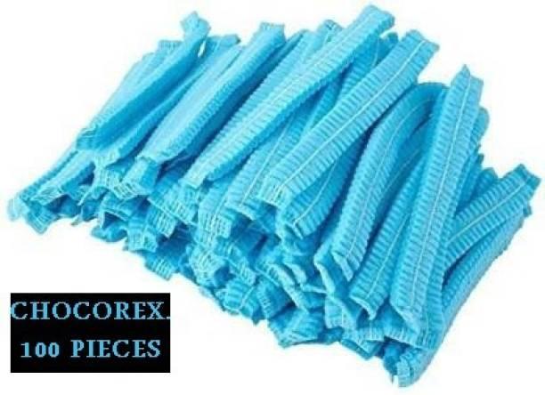 CHOCOREX. REX-053 Disposable Stretchable Blue Caps, Cover Hair For Cooking & Hygiene Surgical Head Cap (Disposable) PACK OF 100 Surgical Head Cap (Disposable) Surgical Head Cap