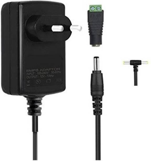 geeta enterprises (Pack of 1) Power Adapter 12V 1 Amp Dual Pin with Screw Terminal for Charger, SMPS, CCTV Camera, Wi-Fi Router, Modem, TV, Led Lights Worldwide Adapter (Black), DC Powers Supply (Input:100-240V 50/60Hz, Output:12 Volt 1 Amps) Worldwide Adaptor
