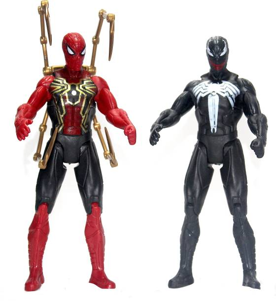 WOW toys Urban Legend Series || Spider Man and Venom Action Figure Toys|| LED Lights|| Interchangeable heads|| Pack of 2 || Red and Black