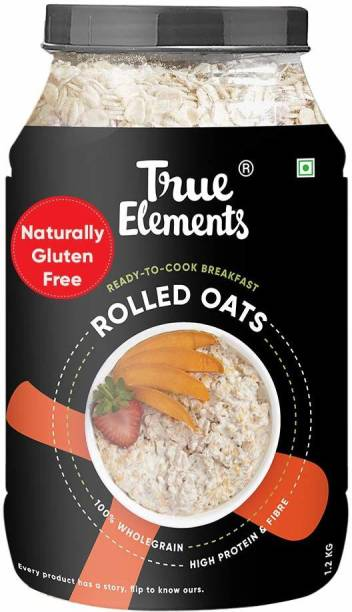 True Elements Rolled Oats, Wholegrain Breakfast, High Protein and Fibre