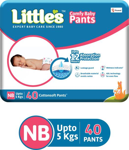 Little's Comfy Baby Pants Diapers with Wetness Indicator and 12 hours Absorption   - New Born