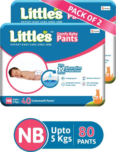 Little's Comfy Baby Pants Diapers with Wetness Indicator and 12 hours Absorption | - New Born