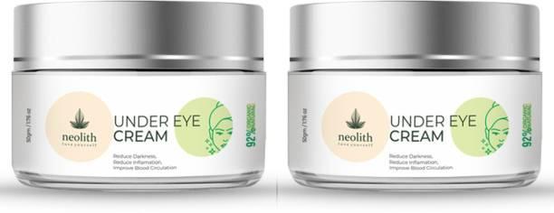 NEOLITH Under Eye Cream for Dark Circles, Puffy eyes, Wrinkles & Fine lines, with Aloe vera & Kokum Butter    92% Organic    Best eye cream for men and women    30 gm(Set of 2)