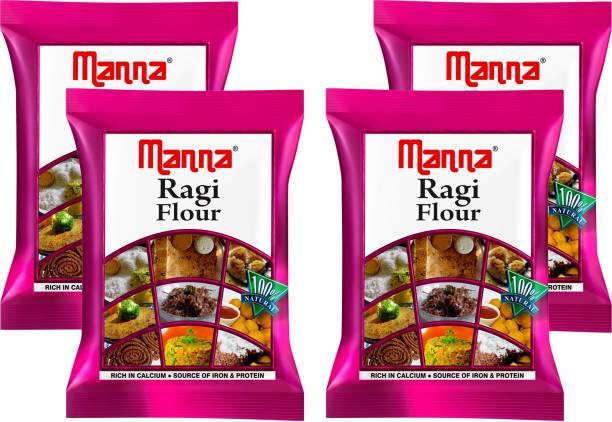 Manna Plain Ragi Flour - 800g (200g x 4 Packs) | 100% Natural | Rich in Vitamins, Fibre and Proteins