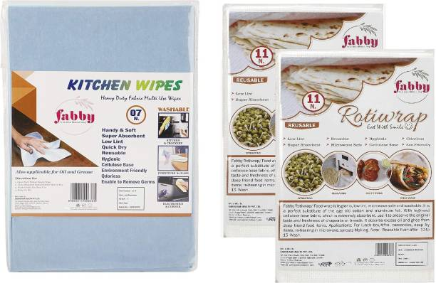 Fabby Hygienic 100% and Eco-Friendly Roti wrap   Washable and Reusable Rotiwrap   Microwave Safe Roti Wrap   Cellulose Base Chappati wrap 11pcs X (2 packet) & Non- Woven Fabric Kitchen Sponge Wipes   Washable Reusable Kitchen Wipes   Multipurpose Heavy Duty Fabric Wipes   Environment Friendly Cellulose Sponge Wipes (1 packet) Paper Foil