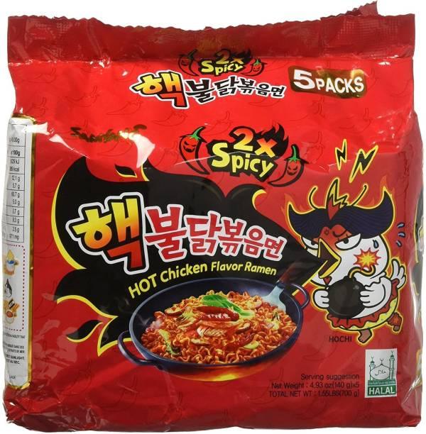 Samyang 2X SPICY BULDAK 140G*5 Hakka Noodles Non-vegetarian