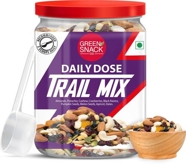 The Green Snack Co. Daily Dose Trail Mix 300g   Comes With A Dosage Spoon   Healthy Roasted Snacks   Diet Snacks   Roasted Almonds, Cashews, Pistachios, Dried Apricot, Dates, Pumpkin, Flax, Sunflower Seeds