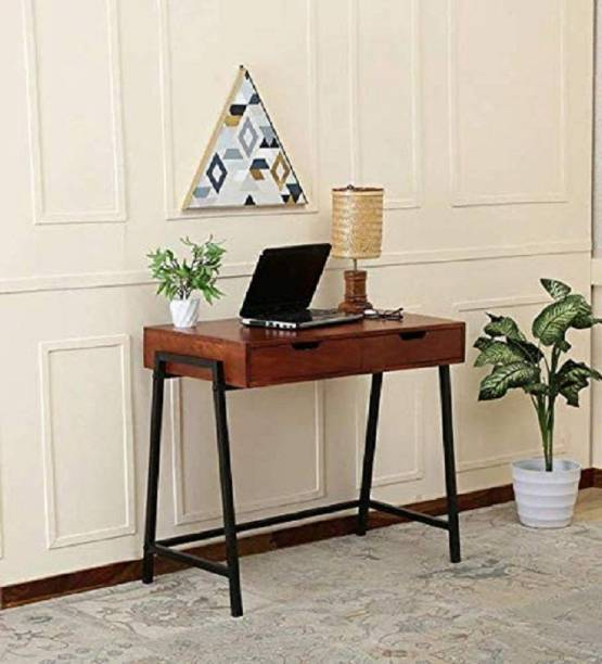 jfwoods Magma Solid Wood Study Table in Metal Frame Metal Study Table
