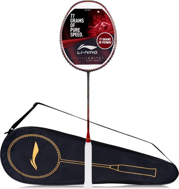 LI-NING Ignite 7 Grey, Red Strung Badminton Racquet
