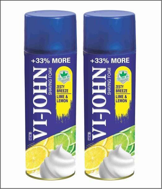VI-JOHN VIJOHN Shave Foam Lemon & Lime 400GM (PACK of 2)