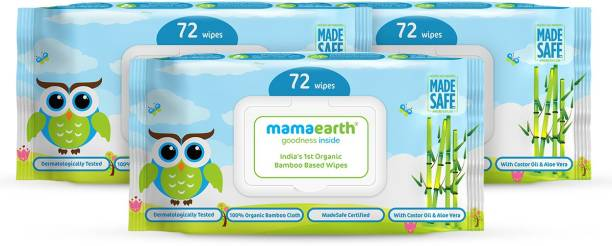 MamaEarth India's First Organic Bamboo Based Baby Wipes (72*3)