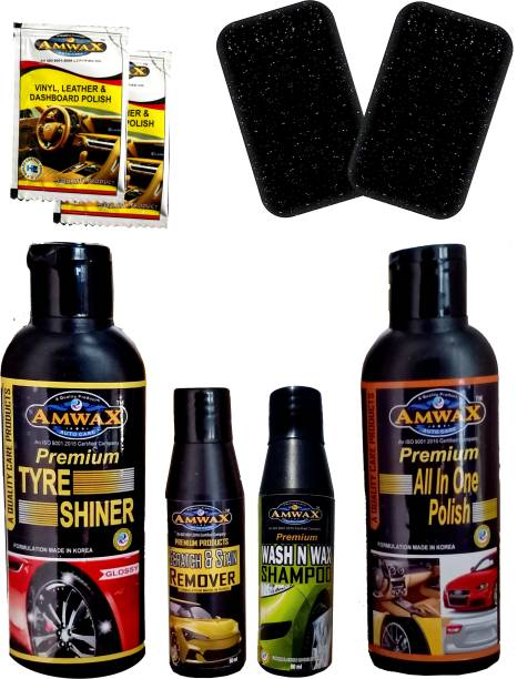 amwax Tyre Shiner 120 ML, Wash and Wax 50 Ml, Scratch Remover 50 Ml, Dashboard Polish Pouch 10 Ml x 2 Pc., 2 pc Sponge, All In One Polish 120 ML Combo