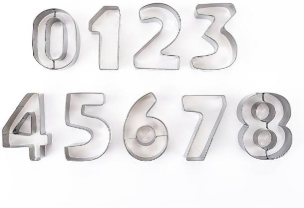 Jamboree 9pcs Alphabet Numbers Shape Cookie Cutters Baking Fondant Biscuit Cutter Mold Stainless Steel Cake Letter Decoration Tool Cookie Cutter