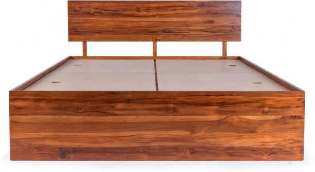 Wakefit Indus Teak Solid Wood Queen Box Bed