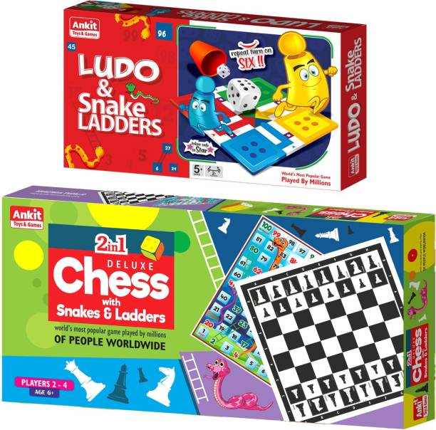 Ankit Ludo Game 13.5 & Chess 18 Deluxe Borad Game For for 5+ years Boys & Girls, Indoor Games for Family -Combo Party & Fun Games Board Game