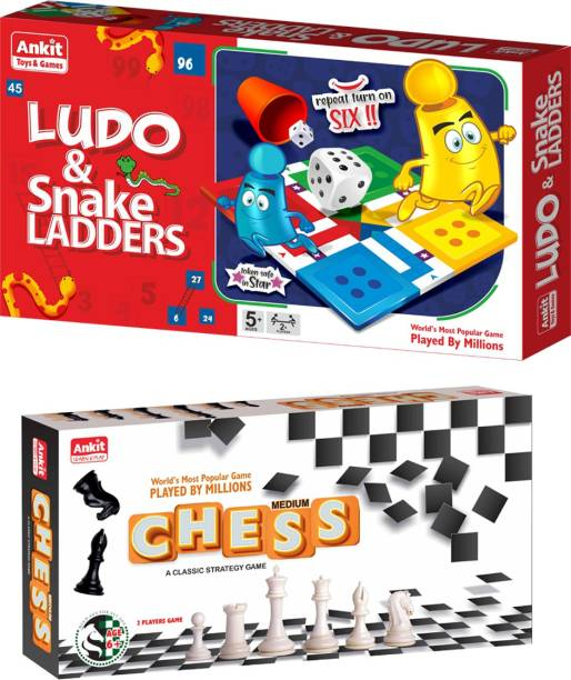 Ankit Ludo Game 13.5 & Chess 12 Medium Borad Game For for 5+ years Boys & Girls, Indoor Games for Family -Combo Party & Fun Games Board Game