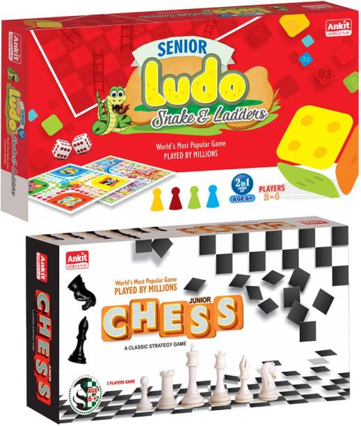 Ankit Ludo 15 Senior & Chess 10 Junior Borad Game For for 5+ years Boys & Girls, Indoor Games for Family -Combo Party & Fun Games Board Game