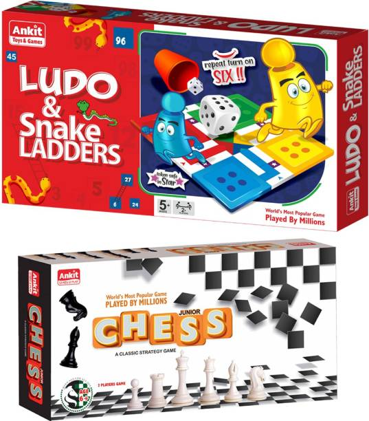 Ankit Ludo Game 13.5 & Chess 10 Junior Borad Game For for 5+ years Boys & Girls, Indoor Games for Family -Combo Party & Fun Games Board Game