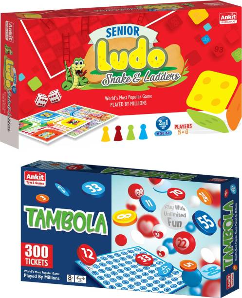 Ankit Ludo 15 Senior & Tambola Game 13.5 Borad Game For for 5+ years Boys & Girls, Indoor Games for Family -Combo Party & Fun Games Board Game